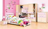 Тумба приліжкова в дитячу кімнату з ДСП і МДФ Террі Клен/Рожевий глянець Світ меблів, фото 3