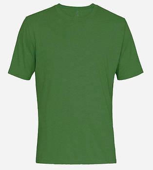 Футболка однотонная мужская, цвет зеленый, круглая горловина