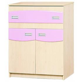 Тумба ТВ у дитячу кімнату з ДСП і МДФ Террі Клен/Рожевий глянець Світ меблів