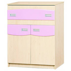 Тумба ТВ в детскую комнату из ДСП и МДФ Терри Клен/Розовый глянец Світ меблів