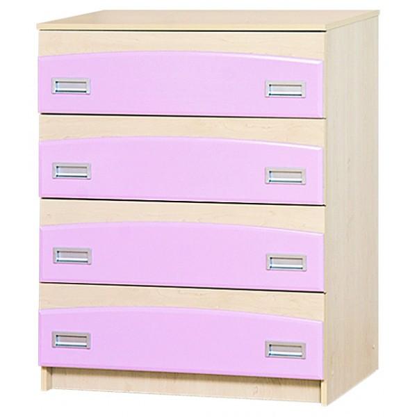 Комод в детскую комнату из ДСП и МДФ Терри Клен/Розовый глянец Світ меблів