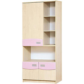 Книжный шкаф в детскую комнату из ДСП и МДФ Терри Клен/Розовый глянец Світ меблів