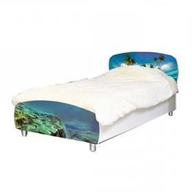Кровать односпальная из ДСП в детскую комнату 90*200 Мульти Дельфины Світ меблів