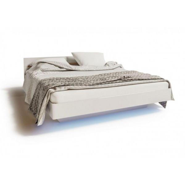 Ліжко двоспальне Світ Меблів Б'янко 160х200 білий, дуб сонома з каркасом ламелевым