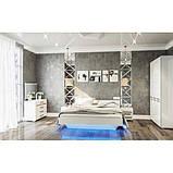Ліжко двоспальне Світ Меблів Б'янко 160х200 білий, дуб сонома з каркасом ламелевым, фото 2