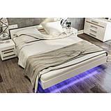 Ліжко двоспальне Світ Меблів Б'янко 160х200 білий, дуб сонома з каркасом ламелевым, фото 3