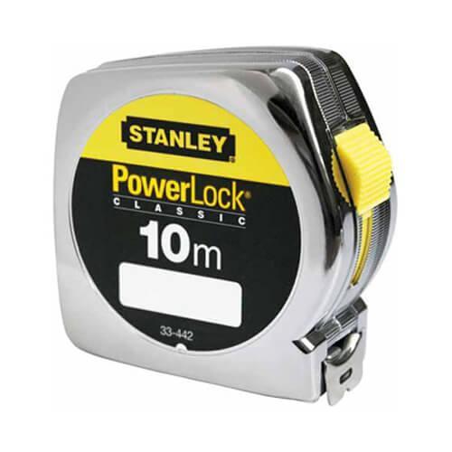 Рулетка измерительная Powerlock® длиной 10 м, шириной 25 мм в хромированном пластмассовом корпусе STANLEY