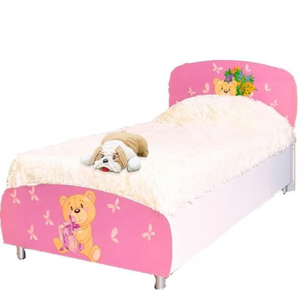 Кровать односпальная из ДСП в детскую комнату 90*200 Мульти Мишки Світ меблів