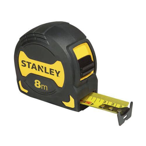 """Рулетка вимірювальна STANLEY """"TYLON™ GRIP TAPE"""", 8мх28мм, у прогумованому корпусі."""