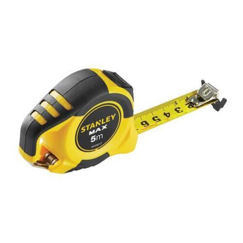 """Рулетка вимірювальна STANLEY """"MAX"""", 5мх25мм, в обрезиненом корпусі, магнітна."""
