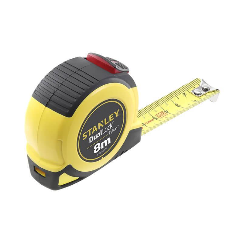 """Рулетка вимірювальна STANLEY """"TYLON™ Dual Lock"""", 8мх25 мм, в пластмасовому корпусі."""