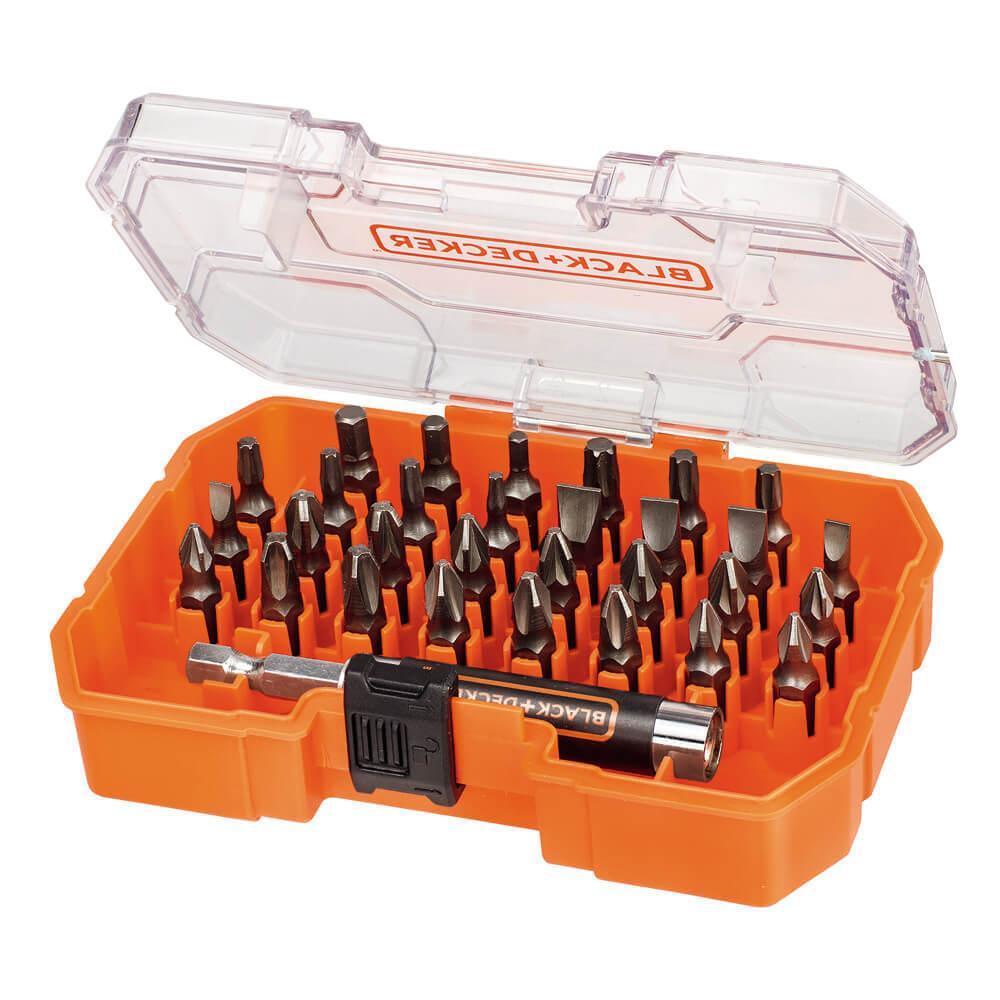 Набір біт BLACK+DECKER, 2xPh1, 2xPz1, 2xSL6, SL7.2, T30, Hx3, L= 25 мм, 31 шт, коробка