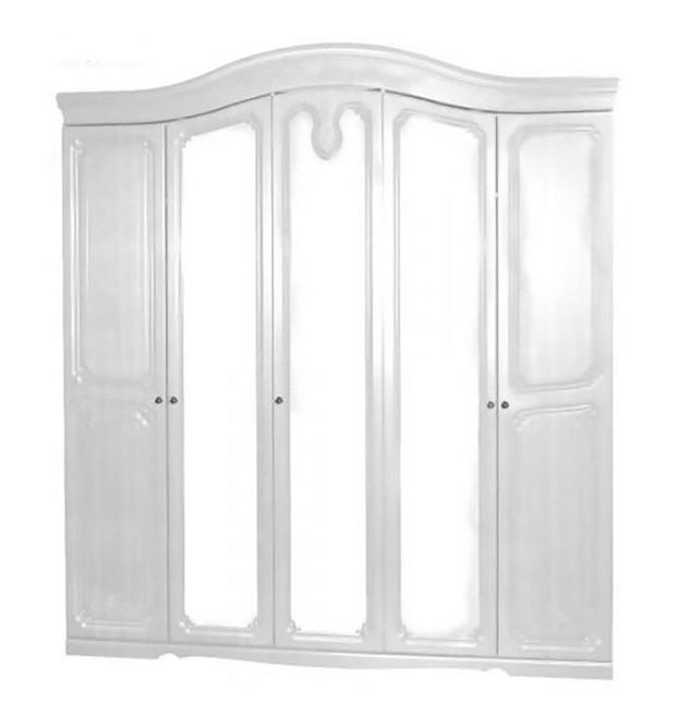 Шкаф распашной из ДСП и МДФ Луиза 5Д Белый Світ меблів