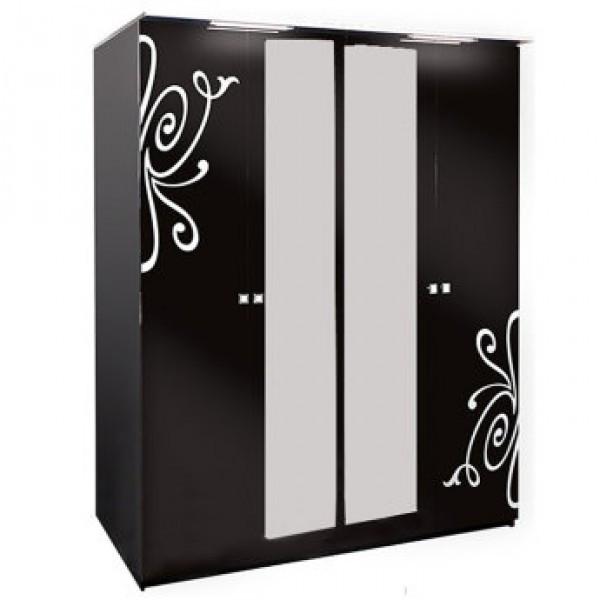 Шкаф распашной из ДСП Фелиция Новая 4ДЗ Черный Світ меблів