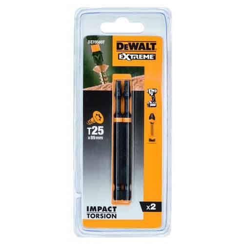 """Набір біт DeWALT """"IMPACT TORSION"""", ударні, Т25, L = 89 мм, 2 шт"""