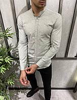 Рубашка мужская серая с длинным рукавом Турция, турецкие хлопок рубашки мужские воротник стойка