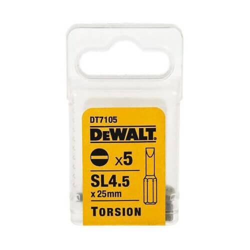 Набір біт DeWALT, Slotted SL4.5, L= 25 мм, 5 шт