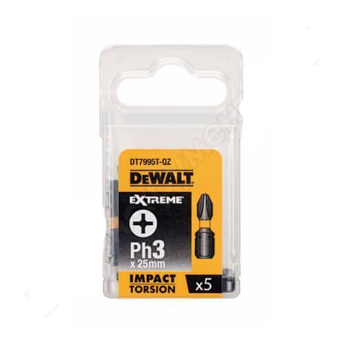 """Набір біт DeWALT """"IMPACT TORSION"""", ударні, Philips, Ph3, L=25 мм, 5 шт"""