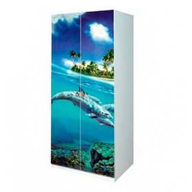 Шкаф в детскую комнату из ДСП Мульти 2Д Дельфины Світ меблів