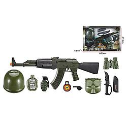Детский военный пластиковый игровой набор с автоматом на 10 предметов для мальчиков от 3 лет, черно-зеленый