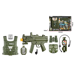 Детский военный пластиковый игровой набор с оружием на 8 предметов для мальчиков от 3 лет, черно-зеленый