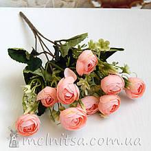 Букет ранункулюсов 10 бутонов по 2,7-3 см, розово-персиковые
