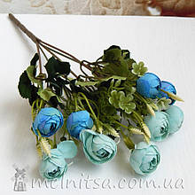 Букет ранункулюсов 10 бутонов по 2,7-3 см, голубой-мятный