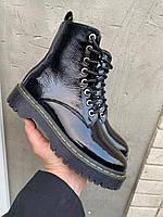 Женские ботинки кожаные весна/осень черные-лак Obr 21135