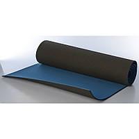 Коврик для йоги и фитнеса Premium TPE+TC 183х61см 6мм черный с синий