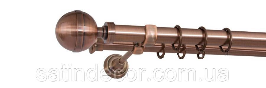 Карниз для штор металевий КАЛІСТО подвійний 19+19 мм 1.8м Мідь