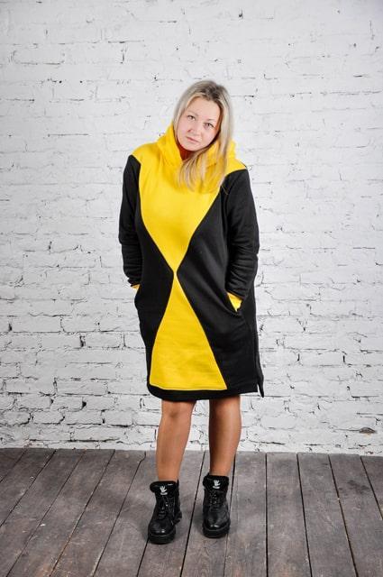Платье теплое трикотажное Дельта черно-желтый (598)