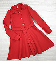 Стильное платье -рубашка на девочку 122,128,134,140,146 красный