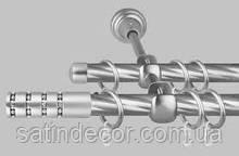 Карниз для штор металлический БАРАМЕЛЛА двойной 16+16 мм 2.0м Крученая Сатин никель