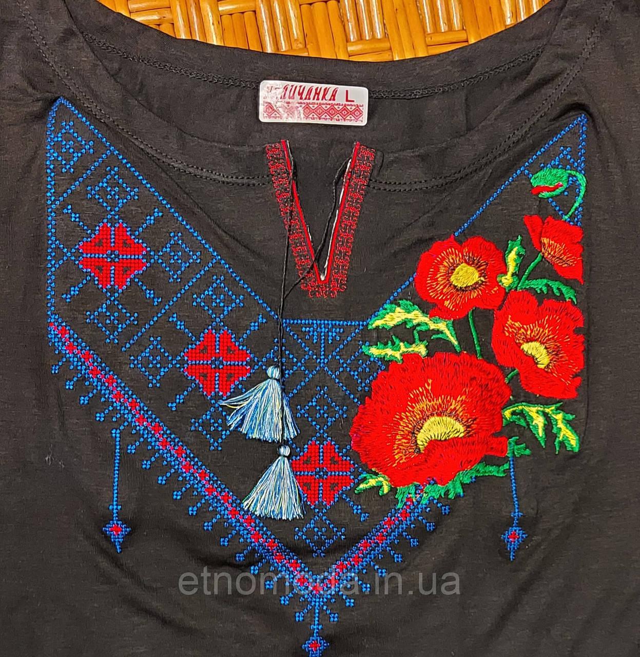 Футболка жіноча (трикотаж,кр) L Мак орнамент 027