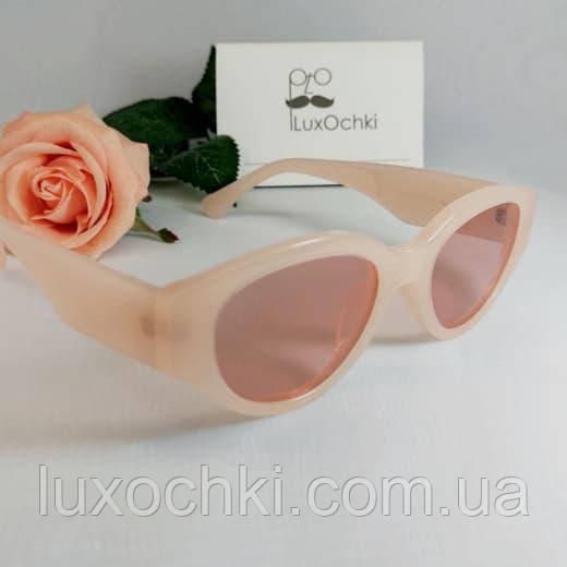 Новинка! Женские поляризованные очки в ретро стиле нюдового цвета с широкой дужкой