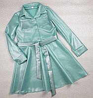 Стильное платье -рубашка на девочку 122,128,134,140,146 мята
