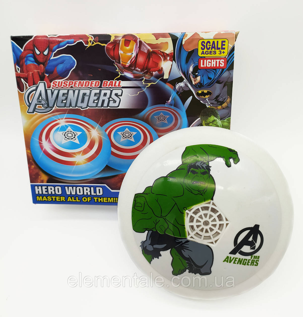 Аэромяч Hoverball Avengers LED святящийся літаючий м'яч Аэрофутбол Халк 18 см