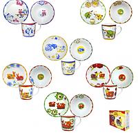 Набор детской керамической посуды  чашка+тарелка+миска