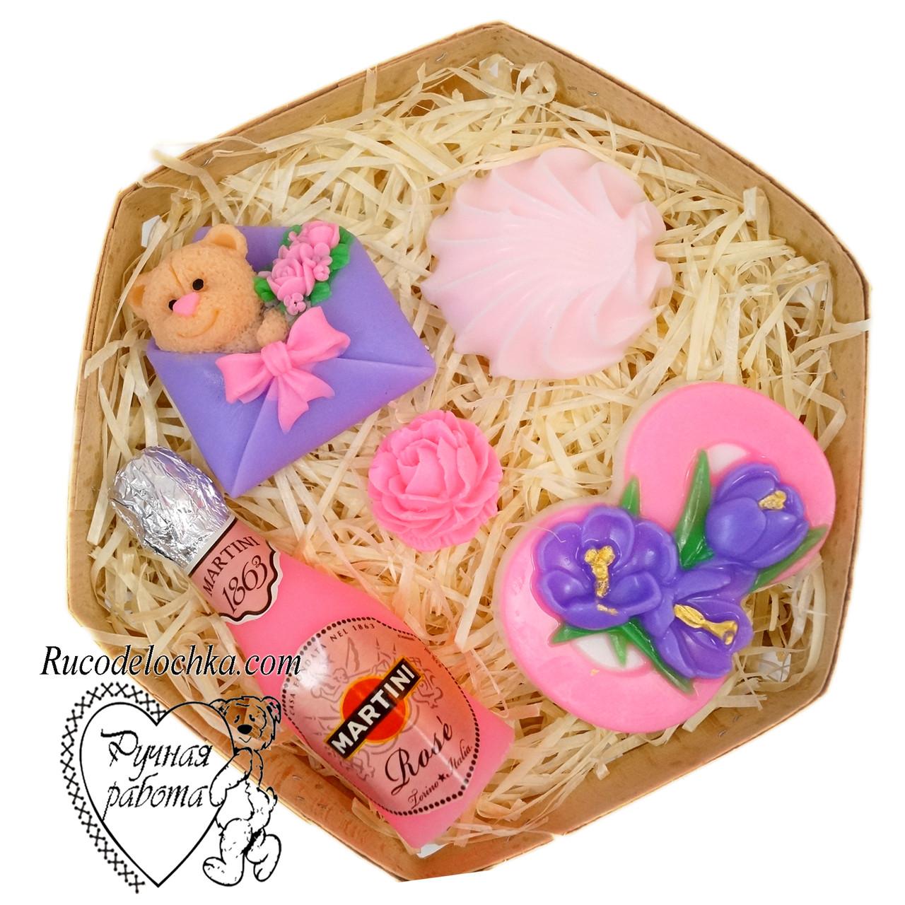 Мыло набор 8 марта, восьмерка, мартини, зефирка, роза мини, мишка, подарок маме, подруге, ручная работа