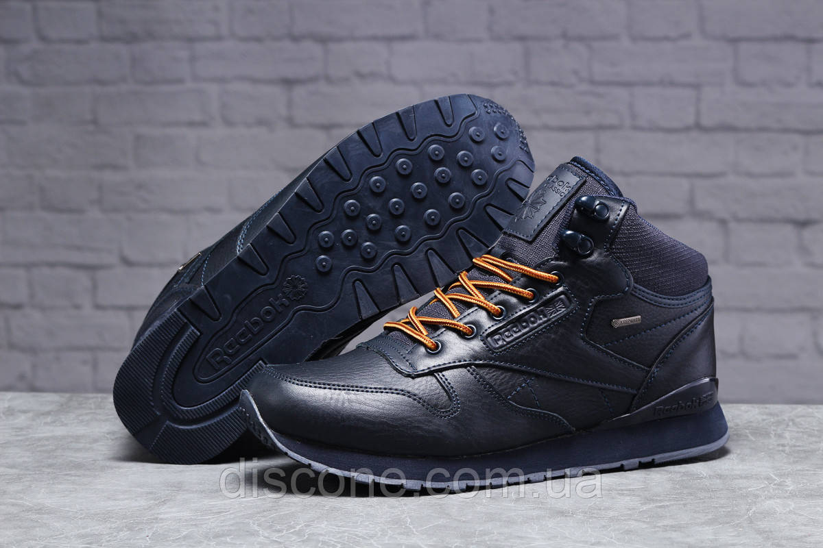 Зимние мужские кроссовки 31481, Reebok Classic (мех) темно-синие ✅Скидка 23% [ 42 45 ] ► (42-27,5см)