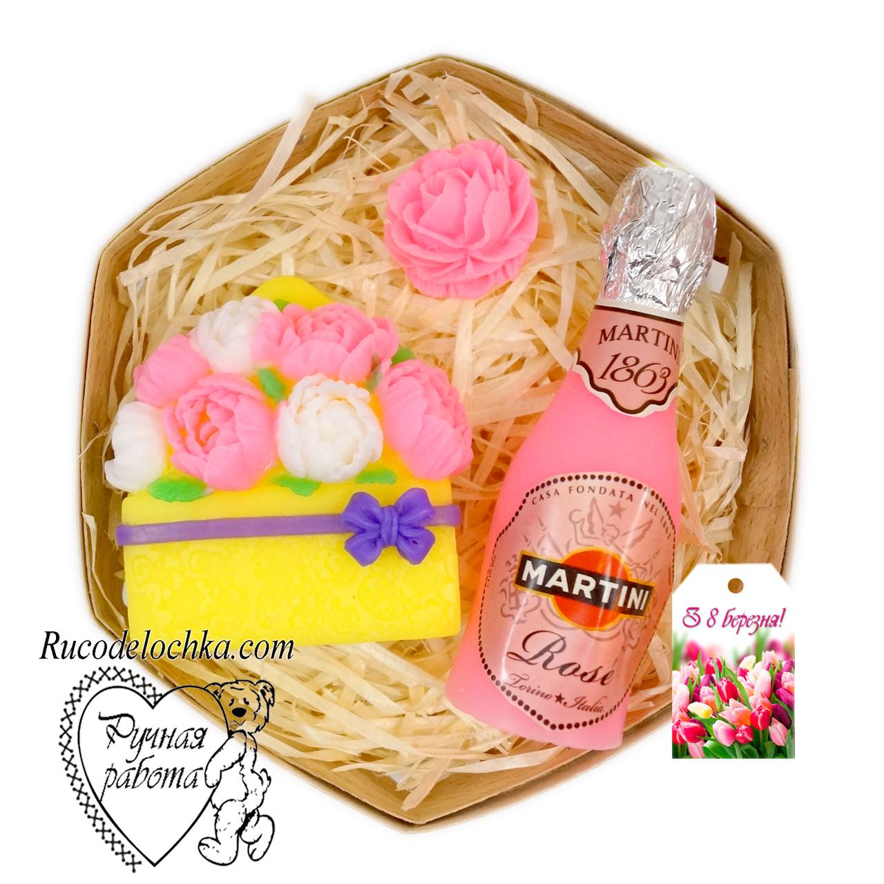 Мыло набор 8 марта, мартини, пионы, роза мини, подарок маме, подруге, женщине, ручная работа