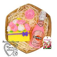Мило набір 8 березня, мартіні, півонії, троянди міні, подарунок мамі, подрузі, жінці, ручна робота