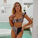 Женский раздельный купальник с завышенной талией жіночий купальник на одне плече, фото 2