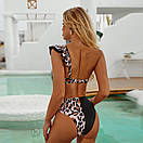 Женский раздельный купальник с завышенной талией жіночий купальник на одне плече, фото 3