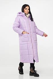 Сиреневая женская свободная куртка на пуху с капюшоном, большого размера от 44 до 54