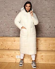 Белая зимняя куртка женская непромокаемая на пуху, большие размеры от 44 до 54
