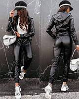 Женский костюм из эко кожи : брюки + кофта на молнии с карманами : 42-44 46-48