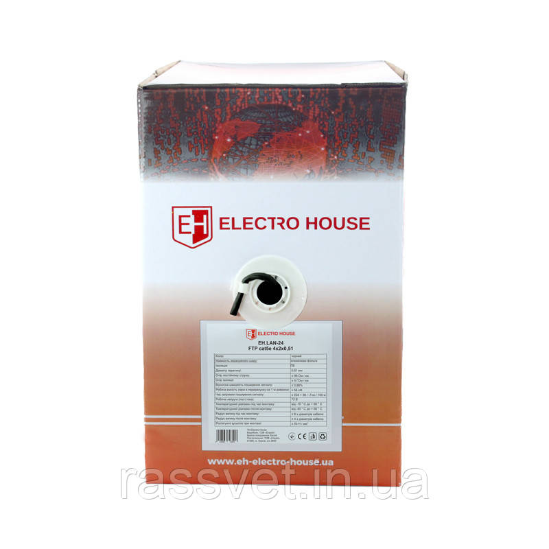 ElectroHouse Кабель витая пара FTP 4х2х0,51 CCA (наруж. монтаж) ПЭ черный