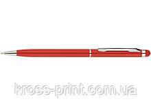 Ручка шариковая металлическая ECONOMIX STYLUS. Корпус красный, пишет синим