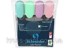 Набор маркеров тестовыделителей SCHNEIDER JOB 1-4,5 мм, 4 пастельных цвета в блистере